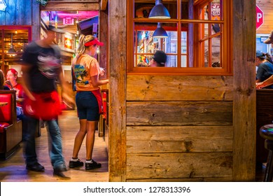 Editorial May 24, 2016 - People dining at famous Bubba Gump Shrimp Co. Restaurant in Long Beach, California