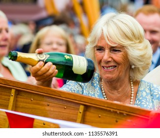 Editorial: Members of the Public and British Roayalty. HRH Prince Charles & Camilla Duchess of Cambridge, Fowey, Cornwall, 16/07/2018. TRH's are greeted by a thronging crowd in Cornwalls Fowey.