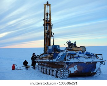 Editorial. Nadym; Tundra; Russia; February 17; 2019: Geological studies of permafrost. Drilling in arctic winter tundra conditions