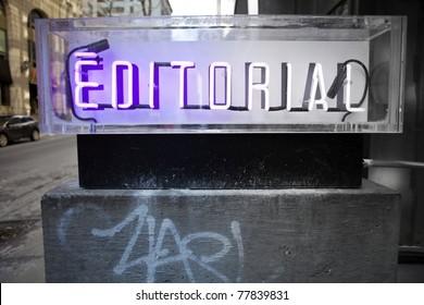 Editorial neon signage