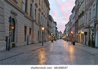 editorial photo, morning Krakow, center of old city, central Europe, Poland, 17 July, 2017     exclusive, this photo is only shutterstock