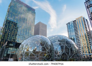 Editorial Seattle Washington United states circa January 2018, partly cloudy sky over the Amazon world headquarters campus with Spheres and surrounding office towers.