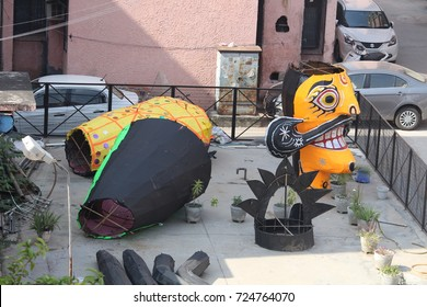 EDITORIAL :: SEPTEMBER 30, 2017 :: VIKASPURI/DELHI, INDIA :: A statue of demon king ravana ready to build ahead of Dusshera celebration in India