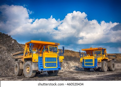 editorial,  Shooting 07.26.2016, Novokuznetsk, Russia, Big yellow mining truck at worksite