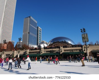 Editorial shot of people enjoy ice skate at Millennium Park, McCormick Tribune Ice Rink, Chicago, USA on December 1, 2013