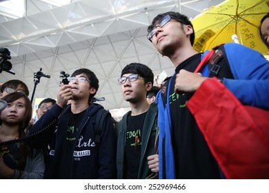 EDITORIAL: Students leaders Alex Chow, Eason Chung and Nathan Law attempted to fly to Beijing to reflect HK people's demand of genuine democracy. Taken on 16/11/2015 at Hong Kong International Airport