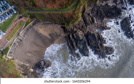 Editorial SWANSEA, UK - FEBRUARY 12, 2020: Aerial view of Rotherslade Bay, a small Bay in South Gower next to a more famous one, Langland Bay on the Gower peninsula in Swansea, South Wales, UK