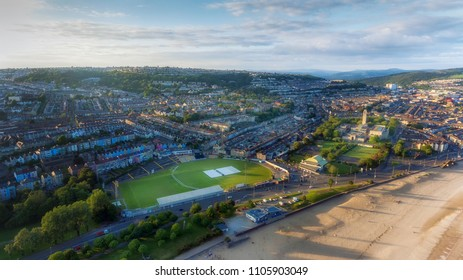 Editorial SWANSEA, UK - June 2, 2018: An aerial view of St Helen's Rugby and Cricket Ground, Brynmill and Victoria Park, South Wales, UK,