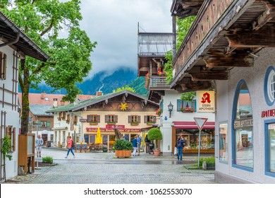 Editorial:  TOURISTS VISITED OLD TOWN OBERAMMERGAU, BAVARIA, GERMANY,  ON JUNE 6, 2017