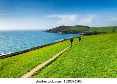 Editorial: Unknown members of the public & Logos. Fowey, St Austell, Cornwall, UK. 01/03/2019. Walkers trek the coastal path from Fowey to Gribbin on a beautifully sunny day.