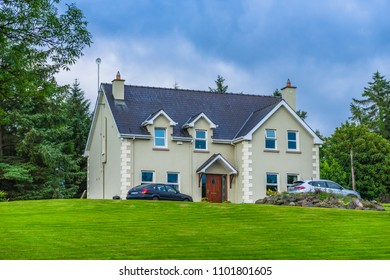 Editorial use only; a beautiful house and lawn, taken at Aughavas, Co. Leitrim, Ireland, in July 2017.