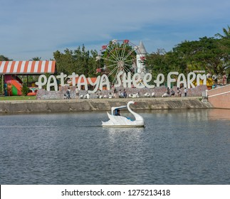 Editorial use only; a boating lake and swan shaped paddle boat, in from of Pattaya Sheep farm, in Pattaya, Thailand, on January 1st, 2019.