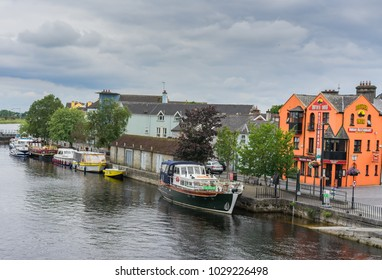 Editorial use only; boats on the river Shannon, at Athlone, Co. Westmeath, Ireland, taken on July 11th, 2017.