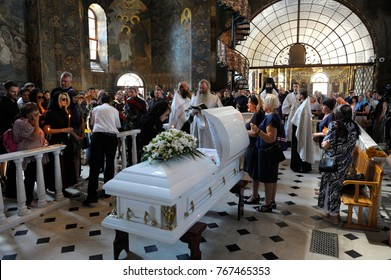 Editorial use only. Burial service: relatives give their last farewell to a late. Funeral of People's Deputy of Ukraine Irina Berezhnaya. August 10, 2017. Kiev Pechersk Lavra, Kiev, Ukraine
