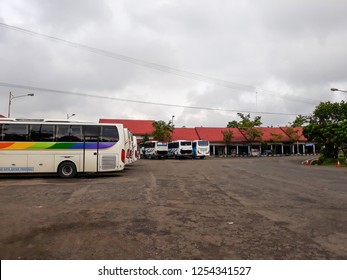Editorial use only; Buses Queuing at terminal, Traveling concept. Upload at Wonosobo, Indonesia in Desember, 2018.