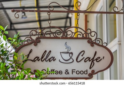 Editorial use only; coffee and food cafe called Lalla Cafe, at Chonburi, Thailand, taken on June 8th, 2017.