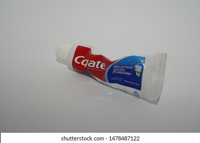 Editorial use only: Colgate toothpaste small tube. Colgate brand name is a manufacturer of dental toothpaste products in USA, taken at Malacca, Malaysia, in August 14, 2019.