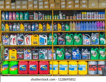 Editorial use only; colourful car accessories store, selling oils, lubricants and coolants, at Pathumthani, Thailand, taken on July 5th, 2018.