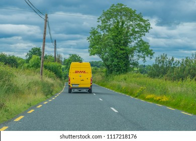 Editorial use only; a DHL delivery truck in the countryside, taken outside Longford town, Co. Longford, Ireland, on July 10th, 2017.