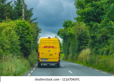 Editorial use only; a DHL van in the countryside, outside Longford town, Co. Longford, Ireland, on July 10th, 2017.