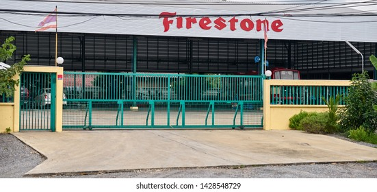 Editorial use only; the entrance to a Firestone premises, taken at  Pathumthani, Thailand, in June 2019.