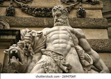 Editorial Use Only: Hercules Strangling Beast Marble Statue
