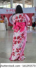 Editorial use only; a lady in a colourful Kimono dress, taken at Pathumthani, Thailand, in January 2020.