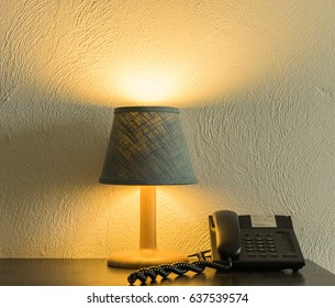 Editorial use only; a lampshade and telephone at a hotel in Pattaya, taken on May 3rd, 2017.