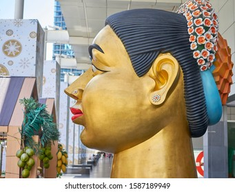 Editorial use only; a large artistic sculpture of a lady's head, taken at Bangkok, Thailand, in March 2019.