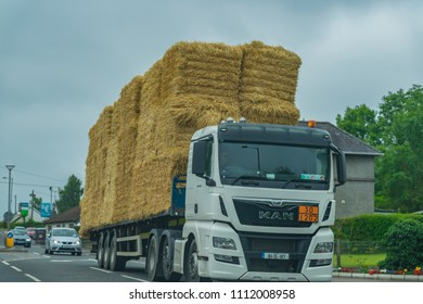 Editorial use only; a large truck of straw, taken at Enniskillen, Co. Fermanagh, Northern Ireland, in July, 2017.