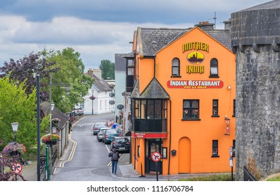 Editorial use only; Mother India restaurant, and Athlone Castle, in Athlone, Co. Westmeath, Ireland, taken on July 11th, 2018.