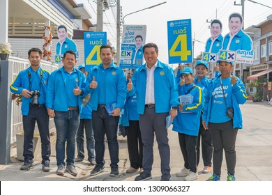 Editorial use only; political part members canvassing for votes, taken at Pathumthani, Thailand, in February, 2019.