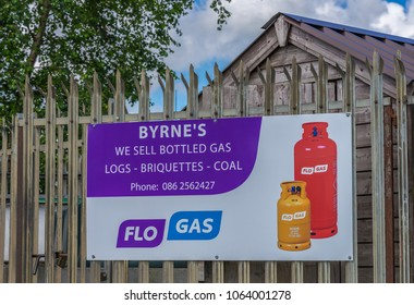 Editorial use only; a poster for home use bottled gas, taken outside Drumlish, Co. Longford, Ireland, on July 12th, 2017.