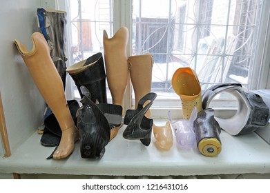 Editorial use only. At the prosthesis workshop. Artificial limbs placed on a windowsill. January 19, 2018. Kiev, Ukraine