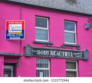 Editorial use only; purple building with for sale sign, taken at Athlone, Co. Westmeath, Ireland, on July 11th, 2017.