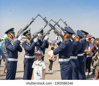 Editorial use only; soldiers form a guard of honour, for children's day at Don Muang Airport, Bangkok, Thailand, in January 2019.