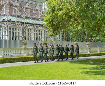 Editorial use only; soldiers marching at a palace grounds at Ayutthaya, Thailand, taken in July 2018.