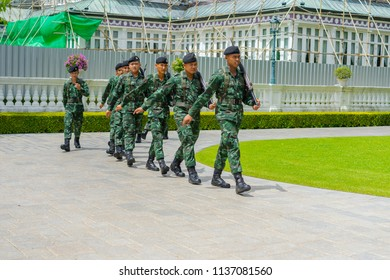 Editorial use only; soldiers marching, at beautiful park, outside Bangkok, Thailand, taken in July, 2018.