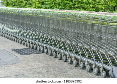 Editorial use only; supermarket trolleys in a carpark, taken at Pathumthani, Thailand, in September, 2018.