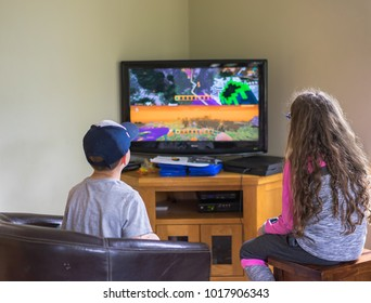 Editorial use only; two kids playing video games, taken at Carrigallen, Co. Leitrim, Ireland, on July 16th, 2017.