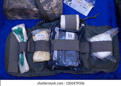 Editorial use only. Ukrainian soldier's first aid kit: bandages, wound-healing drugs, tourniquet,   painkillers. October 7, 2018. Kiev, Ukraine