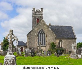 Editorial use only; vintage church and graveyard, at Ardcarne, Co. Roscommon, Ireland, taken on July 16th, 2017.