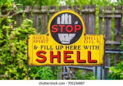 Editorial use only; vintage Shell Oil sign, taken at Carrigallen, Co. Leitrim, Ireland, on July 8th, 2017.