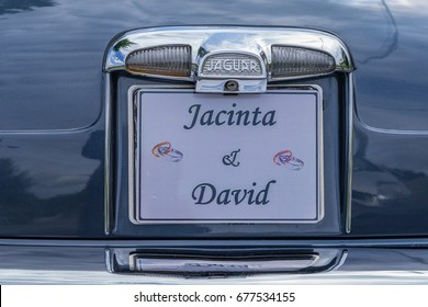 Editorial use only; wedding day car numberplate for David and Jacinta, taken at Carrigallen, Co. Leitrim, on July 14th, 2017.