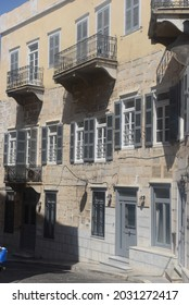 """""""Editorial use only""""Beautiful archiutecture old building on a road in Ermoupolois of Syros island in greece. August - 24 - 2021.""""Editorial use only"""""""