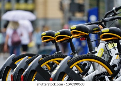 Editorial use only;o bikes parked beside flinders street station in Melbourne Australia.photo was taken on 14th of February 2018
