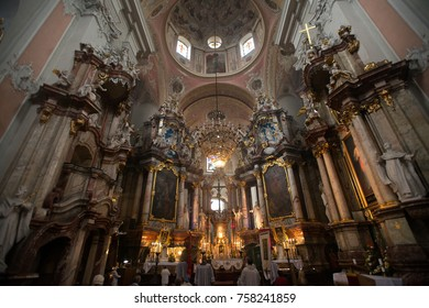 Editorial, Vilnius Lithuania, June 26, 2014 Roman Catholic church interior, Vilnius old town