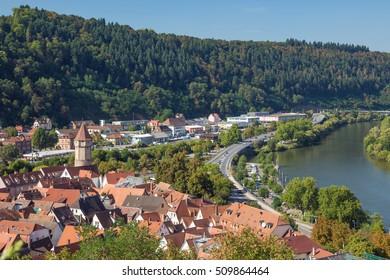 Editorial: Wertheim, Baden-Wurttemberg, Germany, September 25, 2016 - View of Wertheim seen from the Wertheim stronghold