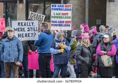 Editorial Womens day march protesters downtown Seattle Washington January 21st 2017 signs against Trump