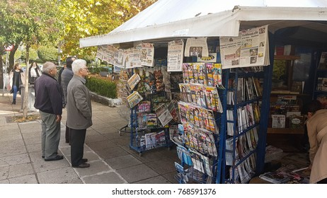EDITORIAL:NEWS PAPERS ON THE KIOSK, IOANNINA  CITY, 18 NOVEMBER 2017, GREECE, news papers and magazines on the kiosk